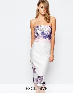 Платье бандо с контрастным поясом и оборками True Violet - Многоцветный цветочный