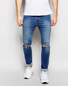 Облегающие джинсы с рваными коленками Hype - Синий