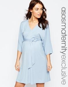 Трикотажное платье для беременных с поясом оби ASOS Maternity - Blush
