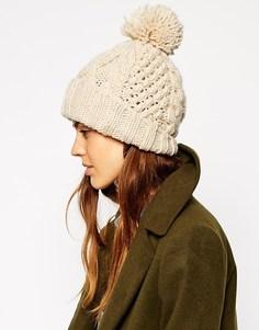 Вязаная шапка-бини с помпоном ASOS - Кремовый