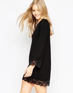 Свободное платье мини с кружевным подолом ASOS - Черный