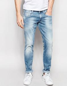 Эластичные выбеленные джинсы слим Replay Anbass - Sunfaded wash