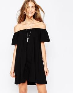 Платье мини с открытыми плечами ASOS Gypsy - Черный