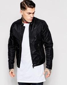 Черная байкерская куртка с контрастной шевронной отделкой Diesel J-Red - Черный