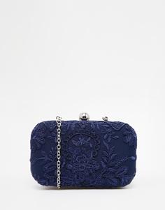 Клатч-футляр с темно-синим кружевным верхним слоем Chi Chi London - Темно-синий