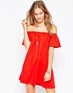 Платье мини с открытыми плечами ASOS Gypsy - Bright red