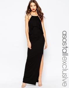 Платье макси с рюшами и глубоким вырезом сзади ASOS TALL - Черный