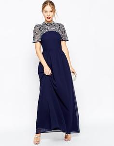 Платье макси с высокой горловиной и отделкой ASOS - Темно-синий