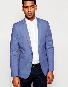 Приталенный пиджак из голубого поплина ASOS - Синий