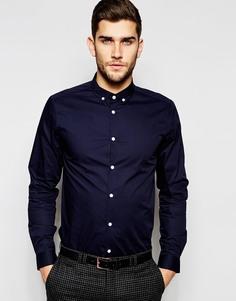 Темно-синяя строгая рубашка с воротником на пуговицах ASOS - Темно-синий