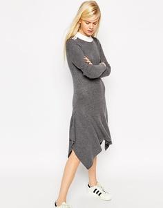 Трикотажное платье-джемпер в рубчик с трапециевидным силуэтом и кнопками ASOS - Серый