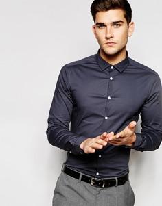Темно-серая рубашка скинни с длинными рукавами ASOS - Угольный