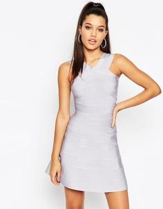 Бандажное платье мини со свободной юбкой ASOS SCULPT Premium - Сиреневый