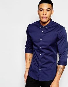 Облегающая темно-синяя рубашка из саржи с длинными рукавами ASOS - Темно-синий