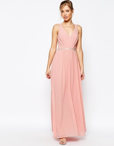 Платье макси из шифона Jarlo - Rosebud pink (розовый)