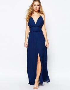 Платье макси с оборкой и разрезом по центру Jarlo - Темно-синий