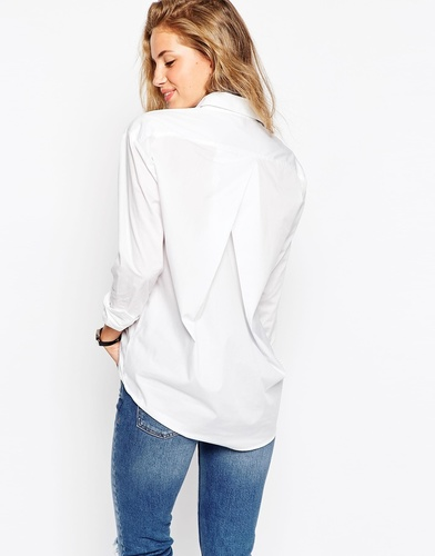 Белая рубашка бойфренда со складкой сзади ASOS - Белый