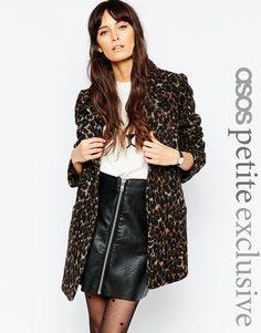 Пальто с леопардовым принтом ASOS PETITE - Мульти