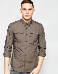 Эластичная поплиновая рубашка с 2 карманами G-Star Correct Landoh - Карбидный