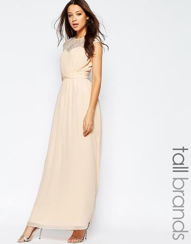 Платье макси c кружевной вставкой Little Mistress Tall - Телесный