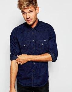 Темно-синяя джинсовая рубашка слим в горошек в стиле вестерн Pepe Carson - Добби индиго