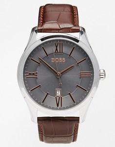 Часы с коричневым кожаным ремешком Hugo Boss Ambassador 1513041 - Коричневый