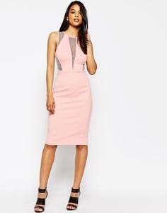 Платье-футляр миди с сетчатыми вставками на рукавах ASOS - Розовый