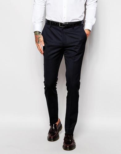 Зауженные брюки с контрастным поясом Religion - Темно-синий