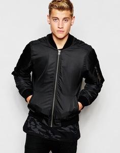Куртка-пилот на камуфляжной подкладке Hoxton Denim - Черный