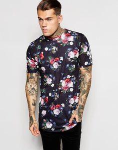 Длинная футболка с закругленным краем и цветочным принтом Criminal Damage - Черный