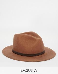 Мягкая фетровая шляпа с кожаной отделкой Reclaimed Vintage - 0