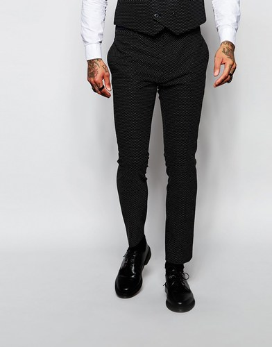 Зауженные брюки в горошек Religion - Черный