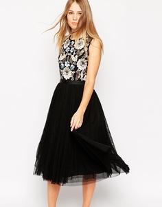 Платье миди с отделкой на лифе Needle & Thread Eastern Garden - Черный