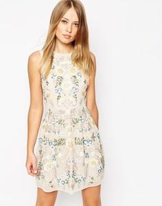 Кружевное платье мини Needle & Thread - Rose beige