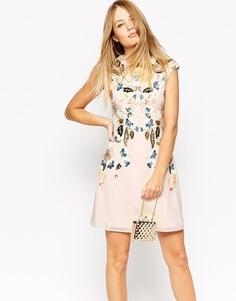 Платье Needle & Thread Eastern Garden - Розовый выбеленный