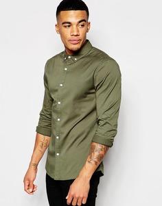 Зеленая саржевая рубашка скинни с длинными рукавами ASOS - Зеленый