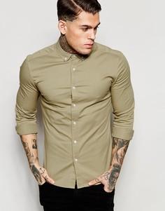 Саржевая облегающая рубашка ASOS - Stone