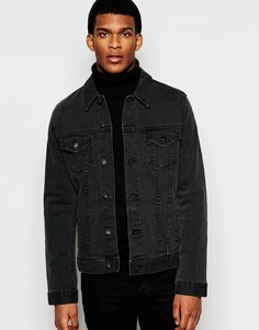 Черная джинсовая куртка зауженного кроя с выбеленным эффектом ASOS - Черный