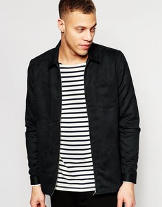Рубашка под замшу с молниями и длинными рукавами ASOS - Черный