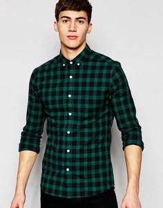 Зауженная клетчатая рубашка из саржи с длинными рукавами ASOS - Зеленый