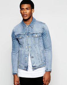 Зауженная куртка из светлого денима ASOS - Синий