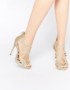 Босоножки на каблуке с решетчатым дизайном ASOS HEARTBEAT - Champagne glitter