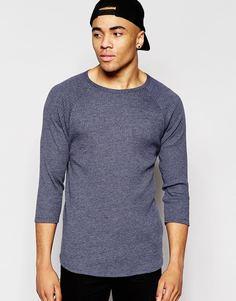 Темно-синяя трикотажная футболка в рубчик с рукавами 3/4 ASOS - Темно-синий меланж