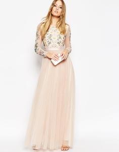 Платье макси с открытой спинкой и прозрачными рукавами Needle & Thread - Blush