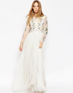 Платье макси с открытой спинкой и прозрачными рукавами Needle & Thread - Мел