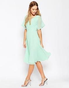 Платье миди с кружевом и складками ASOS WEDDING - Мятный