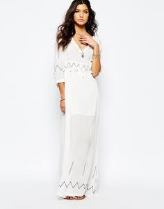 Белое платье макси с длинными рукавами Stevie May Miss Hart - Белый