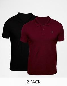 2 футболки-поло черного и бордового цветов с вышивкой ASOS -