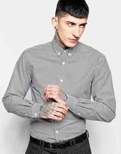 Рубашка слим в гусиную лапку с воротником на пуговицах Heart & Dagger - Черный