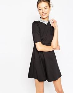 Платье-трапеция с отделкой на воротнике ASOS - Черный